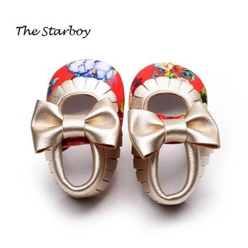 Newborn Infant Baby Toddler Girls Princess Shoes Floral Bowknot PU Leather Moccasins S