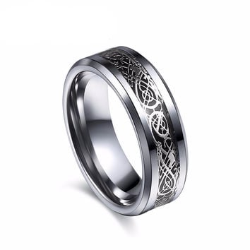 Vintage engagement Dragon Tungsten steel Ring for Men & women