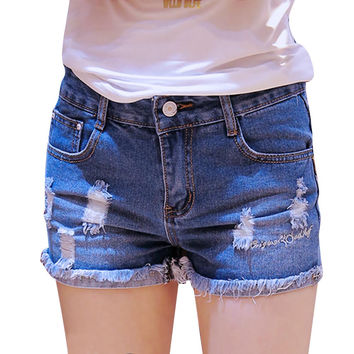 Summer New Street Fashion Sexy Ripped Hole Curling Female Denim Shorts Women Mid Waist Pantalon Femme Casual Short Jeans