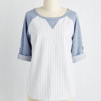 Menswear Inspired Mid-length 3 Walk in the Ballpark Top