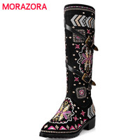MORAZORA Cow suede leather boots women buckle botas snow boots zipper embroidery Cow Split sutumn knee high boots size 34-43