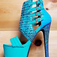 Xpress Green Teal Blue Multi Snake Print Platform Stiletto Heel Shoe