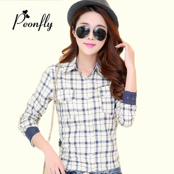 New fashion High Quality women tops blusa Plaid Shirt Ladies Long Sleeved Cotton print flowered Blouses Dot petite clothing s219