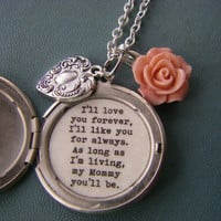 I'll love you forever Mommy Locket Silver locket necklace silver heart pink rose locket mother's day gift for mom