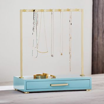 Lacquer and Brass T-Bar Necklace Stand