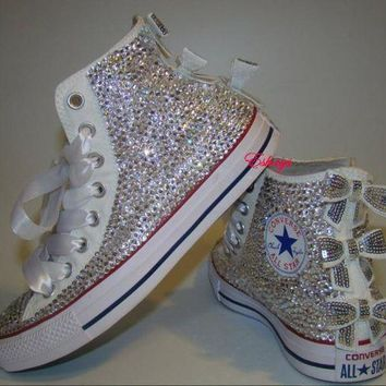 LMFUG7 Clear Sparkly High Top Converse with Sequin Silver Bow