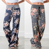 Floral Print Wide Leg Lounge Pants