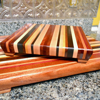 Handmade Extra Large Wood Cutting Board Set- Think Spring II- Mahogany, Black Walnut, Curly Maple, Purpleheart, Yellowheart, and Bloodwood