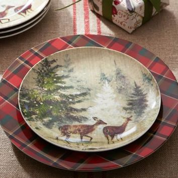 Deer in Snow Salad Plate, Set of 4