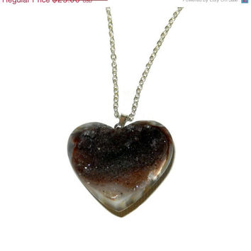 ON SALE Brown Heart Druzy Charm Necklace