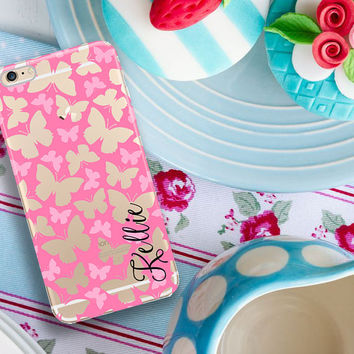 Monogram Iphone 6 case clear for teenagers, Butterfly Iphone 6 Plus case clear, Christmas gift for tween girls, Pink butterflies (1597)