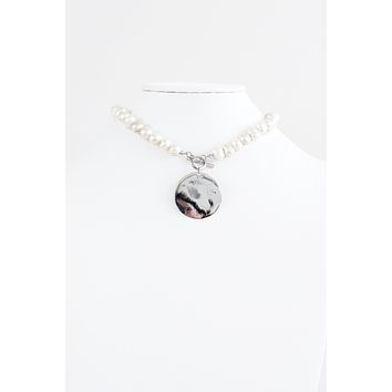 Mother of Pearl Circle Toggle Necklace
