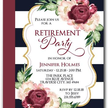 Floral Retirement Invitations