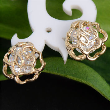Free Shipping! Charming 2pcs=1pair 18K gold filled 100% Cubic Zirconia CZ Brilliant  Hollow Rose  Woman's Stud Earring Piercing