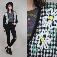GRUNGE DAISY vtg 90's houndstooth PLAID floral Cardigan sweater Slouchy soutache ribbon