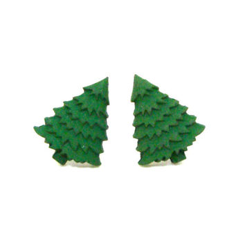 Christmas Tree Stud Earrings, Small Stud Earrings, Holiday Post Earrings, Minimalist Christmas Tree Jewelry, Holiday Jewelry