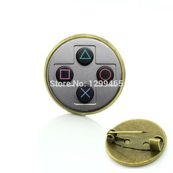 Video game controller pins retro ethnic style game controller brooches Men and women hipster accessories  badge C 1114