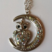 Irridescent Owl Necklace Earring Set