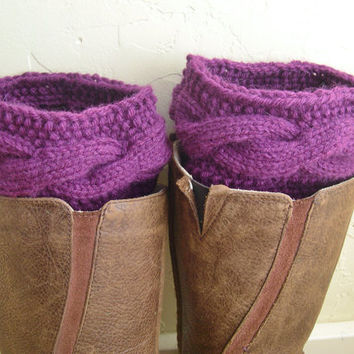 Purple Boot cuffs -  Eggplant Leg Warmers - Cable knit boot toppers  - Spring 2013 - Winter in Southern hemisphere - Legwear - WINTER SALE