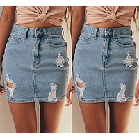 Women Summer Sexy Denim High Waist Hole Destroyed Button Bodycon Celeb Pencil Causal Ripped Frayed Jeans Mini Skirt