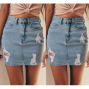 Womens Ripped Rip Detail Stretch Denim Mini Skirt Pencil Midi Skirt Jeans Skirt Sexy