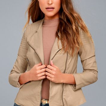 Souped-Up Beige Vegan Leather Moto Jacket