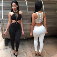Sexy Bodycon Jumpsuits Women 2016 New Lace Jumpsuit Rompers Playsuits Black White Long Pants Sheer Patchwork Bodysuit S-xl