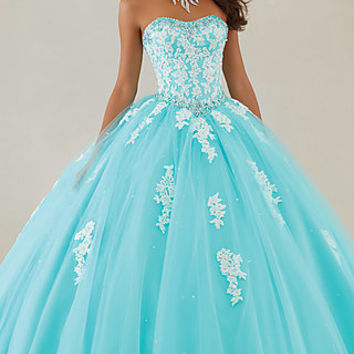 Long Lace and Tulle Quinceanera Dress by Mori Lee