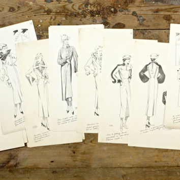 30 Vintage French Fashion Illustration Sketches - 1937 Art Deco Fashion Design Plates