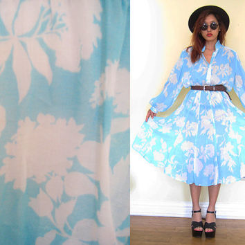 Vintage sheer cotton floral light weight full skirt day dress button down shirt maxi chinese collar slouchy loose fit.