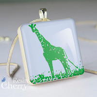 pop art resin pendants,giraffe scrabble tile pendant,jewelry- A0343SI