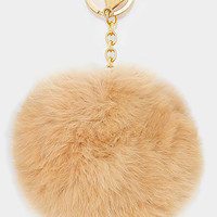 Large Rabbit Fur Pom Pom Keychain, Key Ring Bag Pendant Accessory - Tan