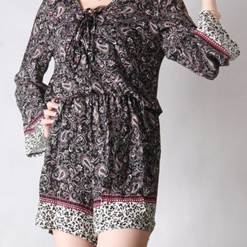 Streetstyle  Casual V-Neck Elastic Waist Paisley Romper With Long Sleeve