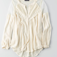 AEO Swing Button Down Top + Mesh , Cream