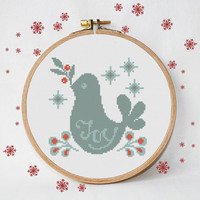 christmas cross stitch pattern, Joy, modern bird folk, instant download, PDF