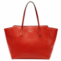 Gucci Swing Leather Shoulder Tote Handbag