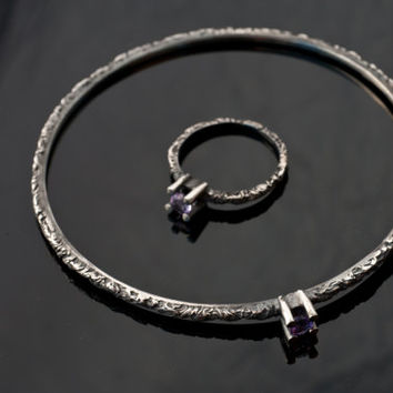 Handmade delicate Bracelet Bangle-Modern Silver Bracelet-Black Sterling Silver & Amethyst-Grass Collection-Gifts for Her