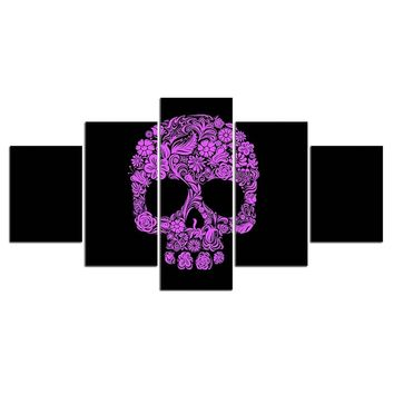 5 Pieces purple printing abstract skull flower wall art canvas panel print