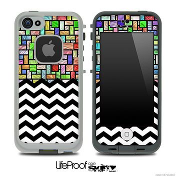 Mixed Abstract Tiled and Chevron Pattern Skin for the iPhone 5 or 4/4s LifeProof Case