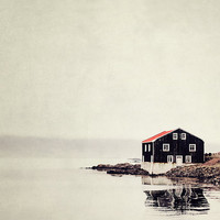 Isolated Black and Red House on Water, Iceland, Landscape Photography, Fishing Village Fog, Minimal Home Decor, Simple - Ordinary Silence