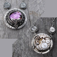 REVERSIBLE Purple Gem Clockpunk Steampunk Reversible Pendant Necklace, Waltham Watch Movement, Gears & on Antiqued Silver Cable Link Chain