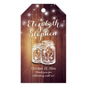 Rustic Wood Elegant Mason Jar String Light Wedding Gift Tags