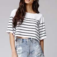 MinkPink Butterfly Effect Cropped Top - Womens Tee - Black