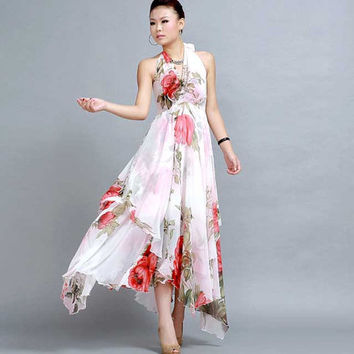 Floral dress  Chiffon maxi prom wedding dress  (258)
