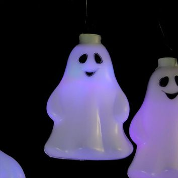 Set of 10 LED Color Changing Ghost Halloween Lights - Black Wire