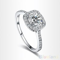Women's 9K White Gold Plated Zircon Crystal Engagement Wedding Jewelry Ring = 6014639879