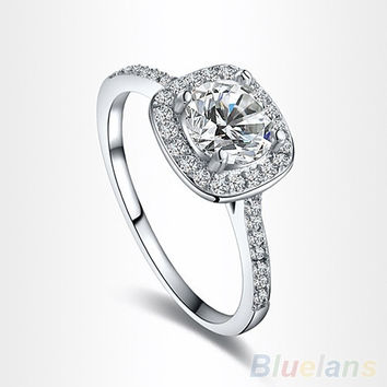 Women s 9K White Gold Plated Zircon Crystal Engagement Wedding J bc0250711
