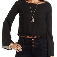 Daisy-Trim Bell Sleeve Crop Top by Charlotte Russe