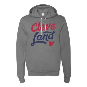 Cleve-Land Ohio - Red and Navy Script - Grey Hooded Sweatshirt