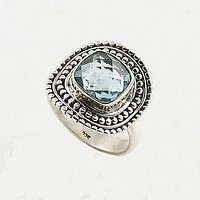 Blue Topaz Sterling Silver Cushion Cut Ring